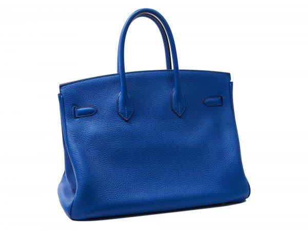 Hermes Birkin 35, cuir Togo Blu Mykonos