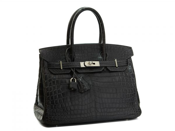 Hermes Birkin 30, Crocodile Niloticus Leather, Gris Antracithe Color