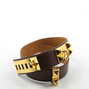 Hermès Ceinture collier de chien Marron