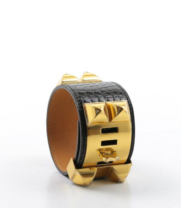 Hermes Crocodile CDC Collier de Chien Bracelet