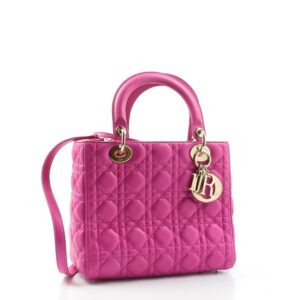 Sac d'occasion Lady Dior en cuir rose