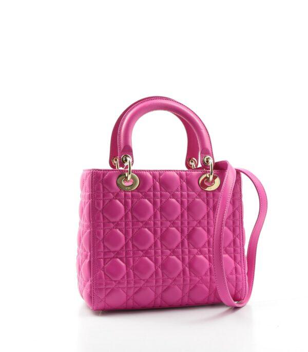 Sac d'occasion Lady Dior en cuir rose