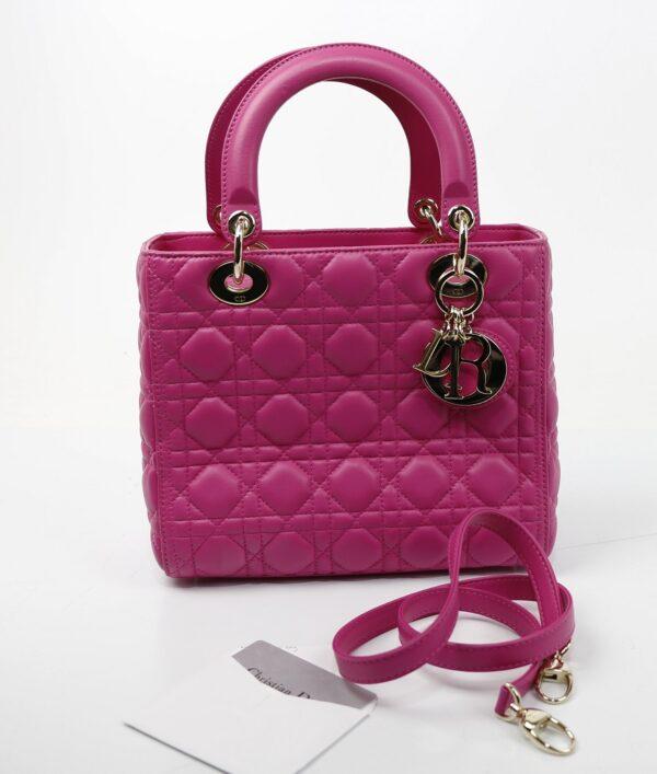 Lady Dior en cuir rose