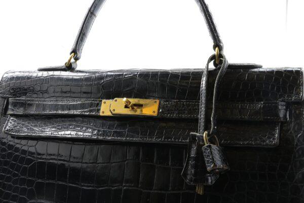Hermes Kelly 35 croco noir Vintage